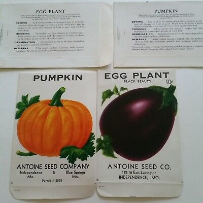 VIntage1950 Egg Plant, Pumpkin Seed Packets, Antoine Seed Co Blue Springs Mo