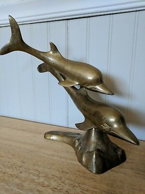 Vintage Large Heavy Brass DOLPHIN'S Statue Figure Sculpture Nautical Sea Decor
