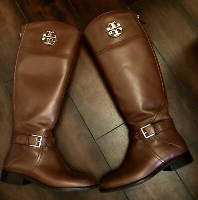 fcdd25c02b981 Tory Burch Adeline Brown Leather Riding Boots Women Size 5.5
