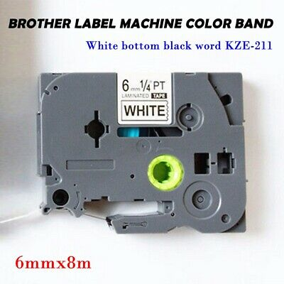 1pc 6mm 8m Black on White Label Tape CompatibleFor Brother TZ-211/TZe-211
