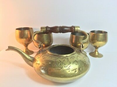 Vintage Small  Brass Tea Pot With 4 Small Cups