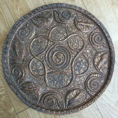 Superb Middle Eastern Persian Copper Tray With Serpents And Fish