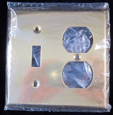 Brass Plate Cover Single Toggle Light Switch & Double Outlet 4.5 in - NOS Canada
