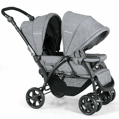 Foldable Double Baby Stroller Lightweight Front & Back Seats Pushchair Gray