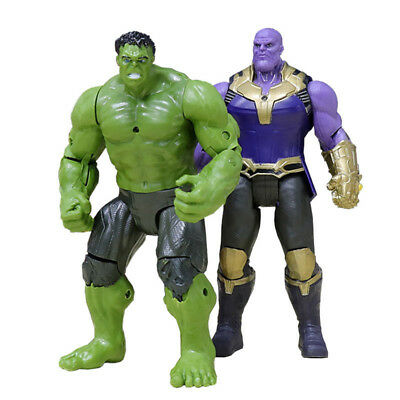 2PCS Thanos Hulk Action Figures 6'' Marvel Avengers 3Infinity War Movable Joints