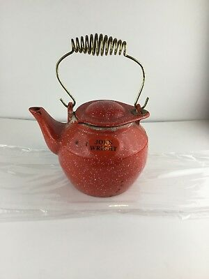 Vintage John Wright Cast Iron Kettle Teapot with Coil Handle Red Orange Gold