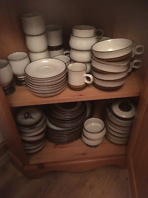 Denby Potters Wheel Stone Ware aprox 200 Piece Set -dinner/coffee and cutlery.