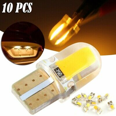 10x Amber T10 W5W 8 SMD COB Silica Gel LED Bulbs License Plate Dash Light Yellow