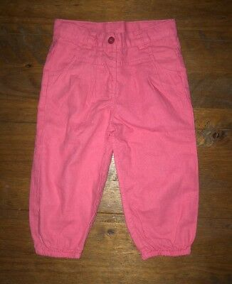 Mothercare Girls Pink Cotton Trousers Age 12-18 Months. Great Condition