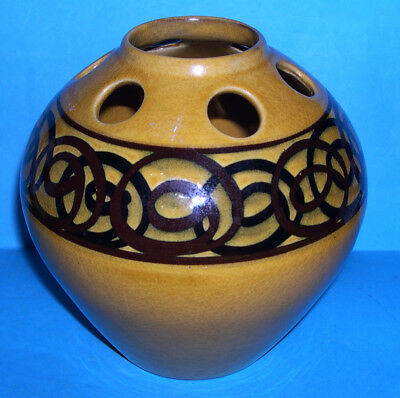 Vintage Brixham Studio Pottery Devon - Attractive Reticulated Vase (M.Marks).