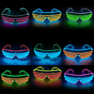 LED Light Up EL Wire Neon Shutter Glasses Eyeglasses Costumes For Dance Party UK