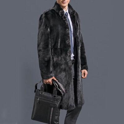 Men's Thickened Faux Fur Jacket Soft Warm Winter Coat Hooded Outwear