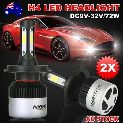 Nighteye 72W 9000LM H4 HB2 6500K LED Headlight Kit Hi/Lo Beam Globe Bulbs GM