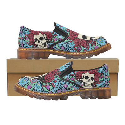 Printed Womens Slip On Loafer The Grateful Dead Shoes Comfy Ladies Casual Flats