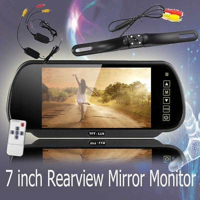 Wireless IR Rear View Back up Camera System+7inch mirror Monitor for car Truck