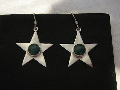 Vintage jewellery 925 silver and green star earrings for pierced ears