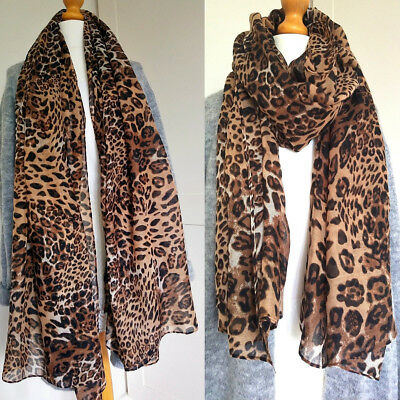 Gorgeous Leopard Animal Print Scarf Lightweight Soft Airy Silky Wrap Long Womens