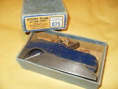 Record 075 Bull Nose Rabbet Plane With Record Iron