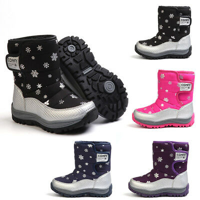 Girls Kids Childrens Flat Winter Fur Lined Snow Ankle Boots Faux Fur Warm Shoes