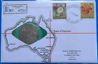 1969 50 Cent Specimen Yarralumla Stamp & Coin Cover PNC by Nuphil - RARE
