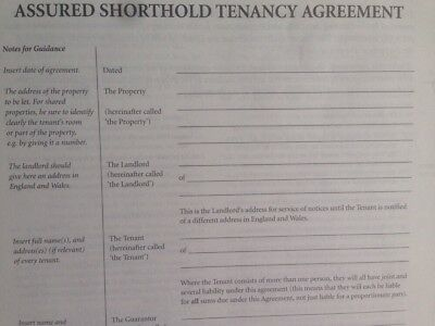 Tenancy Agreement.  Assured Short hold Tenancy, Law, Property, England & Wales
