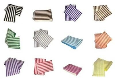 """100 Large Stripes 5"""" x 7""""  Candy Paper Sweet Cart Buffet Party Bag Colured 60GSM"""