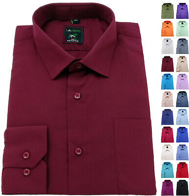 Men's Shirt Regular Fit Plain cotton Easy care Formal collar Casual Long Sleeve