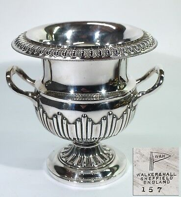 Superb Antique Silver Plated Campana Urn Shaped Bottle Stand by Walker & Hall.