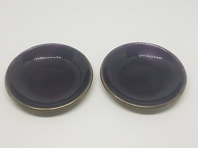 DAVID ANDERSEN Norway 925S STERLING SILVER & Purple Enamel Salt Dishes (2)