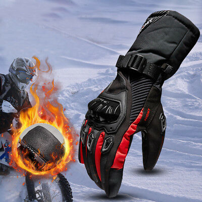 Motorcycle Bike ATV Winter Leather Thermal Keep Warm Waterproof Glove Outdoor