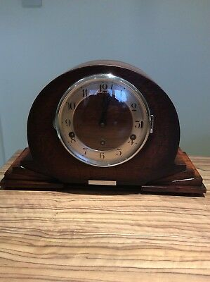 Vintage Art Deco Westminster  Chiming Mantle  Clock Fhs Movement