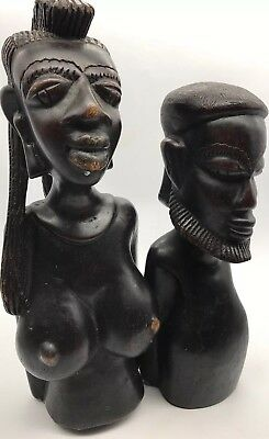 Antique African Hand Carved Ebony Tribal Male & Female Busts c1910 MUST SEE!