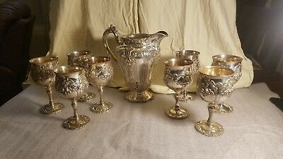 Reed And Barton Renaissance 6000 Pitcher, 8 Goblets Silver Plate