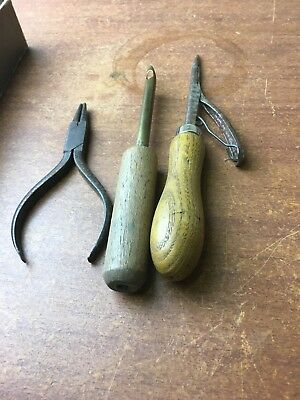 Vintage leather working tools Awl Haft cobblers saddle makers