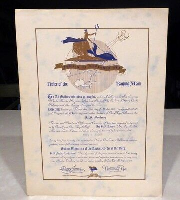 1939 SS Monterey Cruise Ship to Hawaii Ruler of the Raging Main Certificate