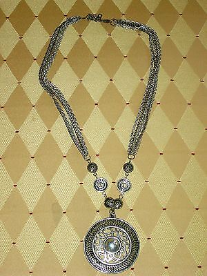 """""""carved Silver & Gold Pendant On 5 Chains""""-Tribal, Celtic, Ancient - Halloween"""