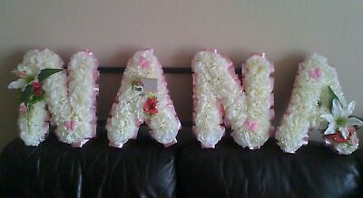 Nana Artificial Silk Funeral Flower Any 4 Letter Tribute Name Wreath Gran Aunt