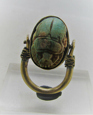 Beautiful Egyptian Gold Gilded Swivel Ring With Scarab Bead Seal Insert