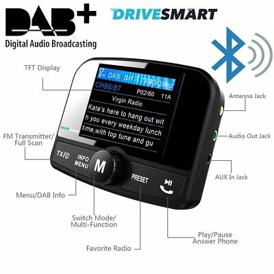 Drivesmart Car DAB Digital Radio Bluetooth FM Transmitter Fits Peugeot Toyota VW