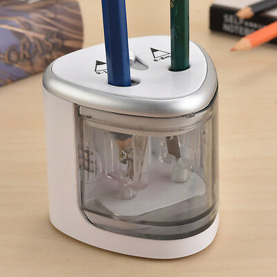 Dual Holes Automatic Electric Pencil Sharpener Stationery Removable shaving
