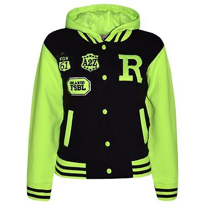 Kids Girls Boys R Fashion Baseball Black Neon Green Hooded Jacket Varsity Hoodie