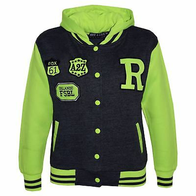 Kids Girls Boys R Baseball Charcoal Neon Green Hooded Top Jackets Varsity Hoodie