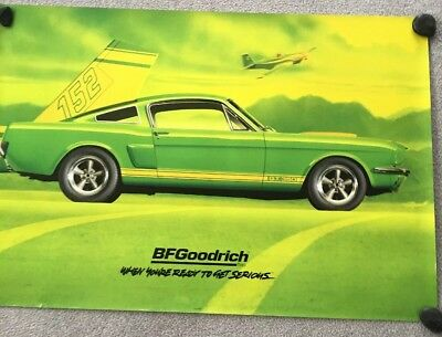 ORIGINAL BF GOODRICH SIGN OF A 1966 FORD SHELBY GT 350 MUSTANG  2'x3' POSTER