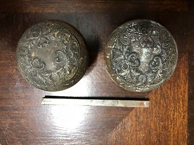 Vintage Antique Ornate Cast Bronze Door Knobs
