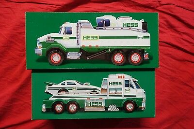 Hess Truck lot x2 2016 2017 Dump Truck Loader Toy Truck Dragster MIB unopened