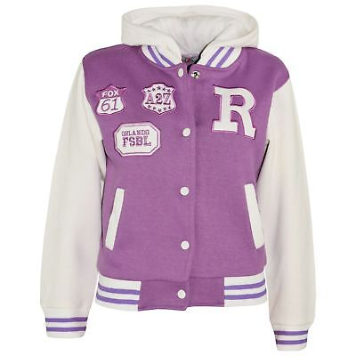 Kids Girls Designer R Fashion Baseball Lilac Hooded Jackets Varsity Hoodie 2-13Y