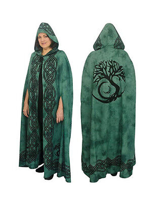 Cotton Cloak - Tree of Life - Green | Witchcraft | Pagan | LARP | Roleplaying