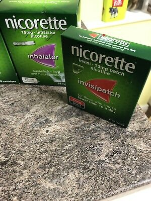 2 packs of Nicorette inhalator 15mg with 36 cartridges, Plus 7 Patches Step 2.