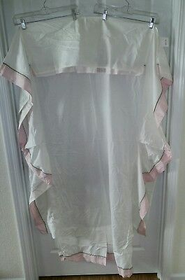 Pottery Barn Kids Country Crib Skirt Dust Ruffle Pink Green Embroidered