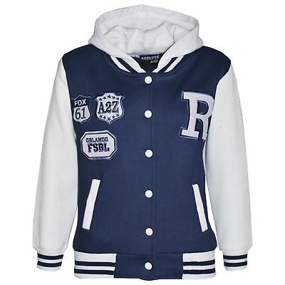 Kids Girls Boys Designer's R Fashion Baseball Navy Hooded Jackets Varsity Hoodie